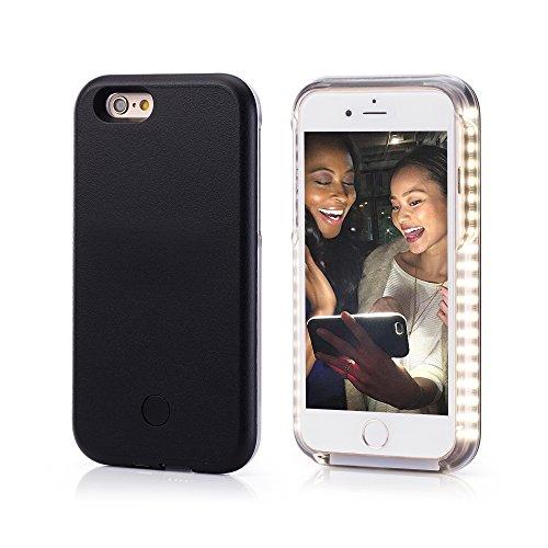 Preisvergleich Produktbild OKCS® Selfie LED Case Light Schutzhülle Foto Selfie Selbstporträit Beleuchtung Hardcover Licht für das iPhone 6 Plus / 6s Plus in Stylish Black