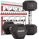 POWRX Hexagon-Hanteln (Paar) inkl. Workout | 2-32,5 kg | gummiert | rutschsichere, verchromte Griffe...