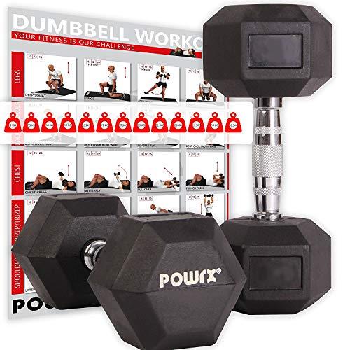 POWRX Hexagon-Hanteln (Paar) inkl. Workout   2-32,5 kg   gummiert   rutschsichere, verchromte Griffe   Kurzhantel-Set   Dumbbell-Set (2 x 3 kg)