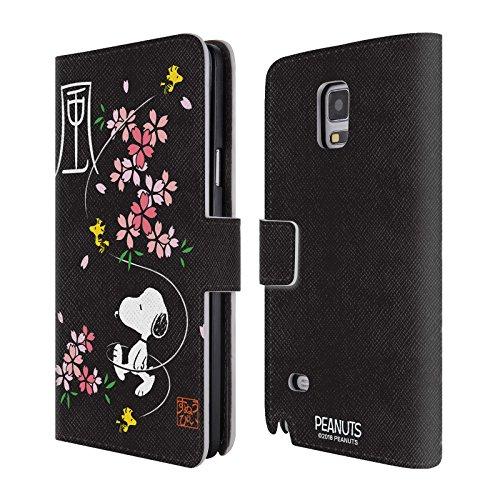 Head Case Designs Offizielle Peanuts Kirschen Blüten Orientalischer Snoopy Leder Brieftaschen Huelle kompatibel mit Samsung Galaxy Note 4 (Note Snoopy Hülle 4 Samsung Galaxy)