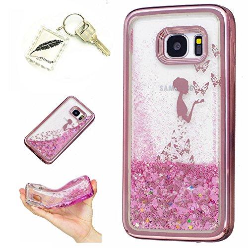 Preisvergleich Produktbild Silikonsoftshell TPU Hülle für Samsung Galaxy S7 Edge (5,5 Zoll) Tasche Schutz Hülle Case Cover Etui Strass Schutz schutzhülle Bumper Schale Silicone case+Exquisite key chain X1#KF (3)