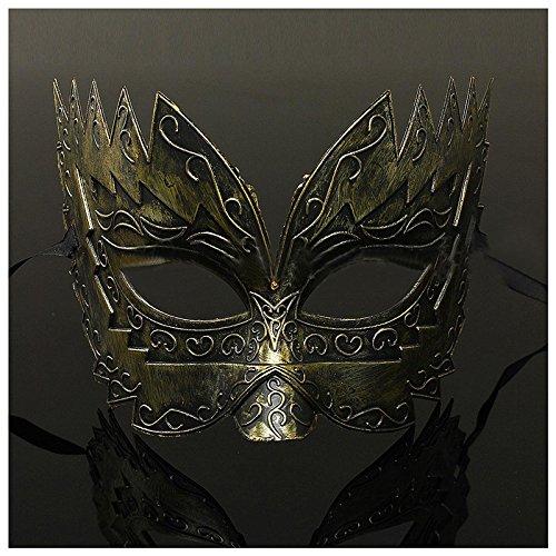 Zorux - 1 Stück Herren Maskenball-Maske, Junggesellenabschied, Faschingskostüm, venezianisches Augengesicht Gold
