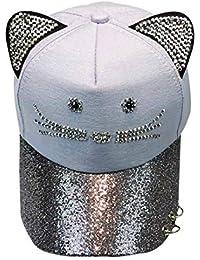Crystallly Gorras Gorra De Moda Mujer Béisbol para Niños Lindo Gato Estilo  Simple Orejuela Anillo De cf4ed986f21