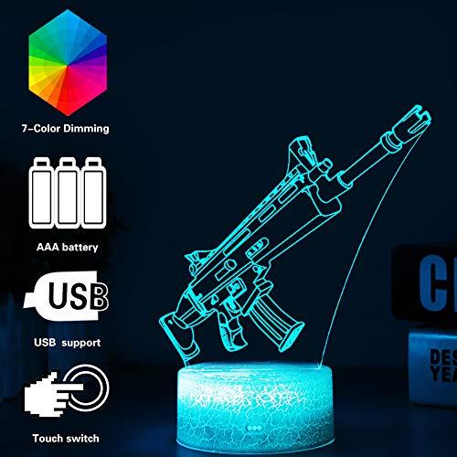 3D Festungslampe Battle Bus RGB Stimmungslampe 7 Farben Sockel Acryl Stereo Illusion LED Tischleuchte Nachttischlampe Crack Character Scar -