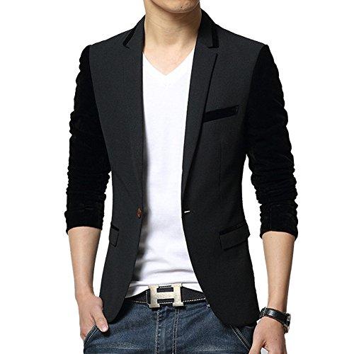 MRSMR Hommes Coton Slim Fit Veston Costume Un Bouton Casual Blazer Vestes Manteau Homme Noir