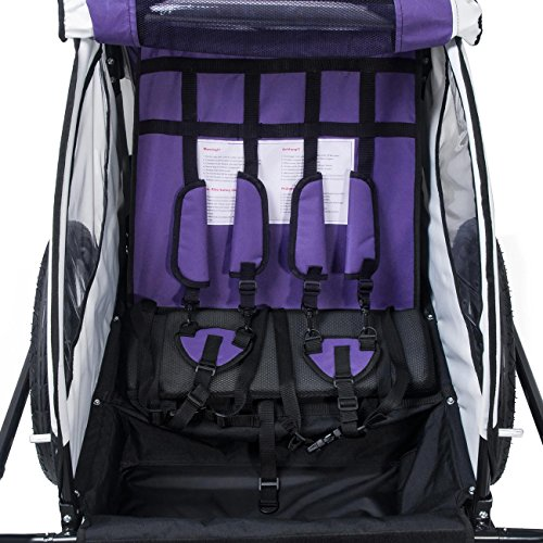 SAMAX Fahrradanhänger Jogger 2in1 360° drehbar Kinderanhänger Kinderfahrradanhänger Transportwagen vollgefederte Hinterachse für 2 Kinder in Lila – Black Frame - 6
