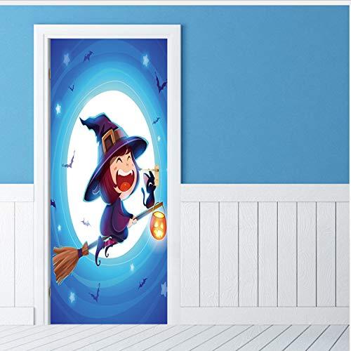 Fqz93in Aufkleber Der Tür 3D Happy Halloween Wandaufkleber Einzigartige Hexe Fledermaus Tür Aufkleber Tapete Dekoration Abziehbild Dekor