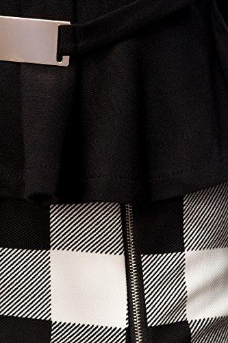 Robe courte à manches longues et col v élément décoratif doré sur la taille et enveloppant-motif à carreaux fermeture éclair latérale a14031 - schwarz (Sw 16)