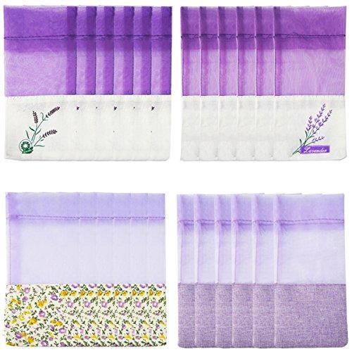 Geila 24pcs Beutel Leere Taschen Lila Gaze Cotton-Ramie Säcke für Lavendel, Gewürz und Kräuter