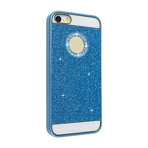 iPhone SE/5/5S Hardcase Glitzer, iPhone SE Glitter Case, iPhone 5S Schale Glitter Case, iPhone 5 Glitter Case, Moon mood® Ultra Slim Thin 3D Bling Strass Hülle Hart Bling Gliter Handytasche Kristall S Blau