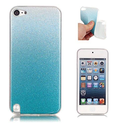 Hellblau Silikonhülle für iPod Touch 5G, Aeeque iPod Touch 5/6th Gen Ultra Slim Glitzer Weich Luxuriös Glänzend Glossy Kratzfeste Stoßdämpfung TPU Flexibel Schutzhülle Handy Tasche Bumper Back Case Cover