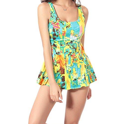 Sidiou Group Bañador conservador de grande tamaño, nuevo bañador de impresión de una pieza con varios tamaños y varios colores, traje de baño de 87% poliéster de una pieza. (XL, Flor amarilla)