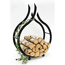 Support à bois de cheminée DanDiBo - Pour l'intérieur - Flamme noire - 78cm