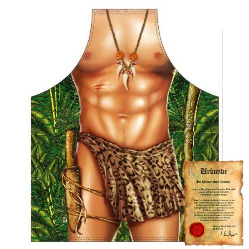 bedruckte Karneval Grillschürze - sexy Motiv: Tarzan - coole lustige Fasching Party Koch Schürze Latzschürze Fastnacht