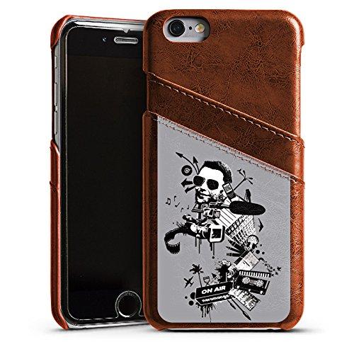 Apple iPhone 5s Housse Étui Protection Coque Caméra Musique Cassette Étui en cuir marron