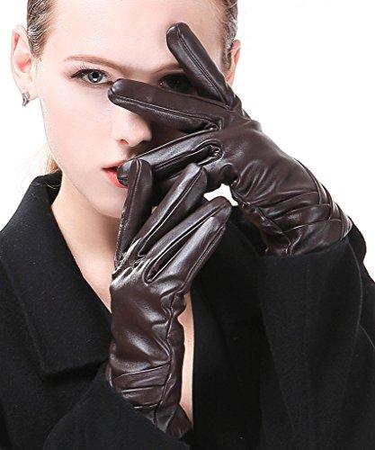 Harrms Damen Winter Handschuhe Echt Leder Touch Screen Gefüttert aus Kaschmir Wolle Lederhandschuhe, Braun (Leder-wolle-handschuhe)