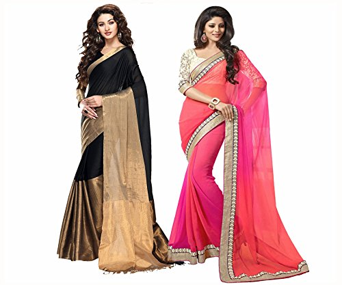 Saree ( V-Art Combo of Two Latest Designer Embellished Fancy Saree With Blouse.One Cotton Silk Black Designer Latest Golden Broad Bordered Saree With Continue Same Blouse & Other Shaded Pink-orange Embellished Saree With White Brasso Blouse)  available at amazon for Rs.775