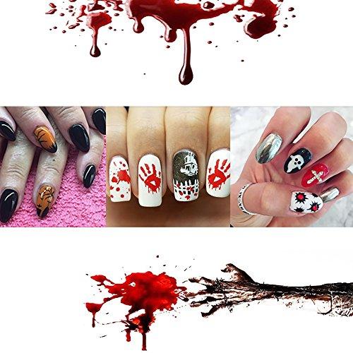 Nail Sticker Tattoo Kunstnägel Dekoration Nagelaufkleber bunte Nagelsticker Weihnachten Halloween (schwarz)4 pcs (Gute Halloween-pc-spiele)
