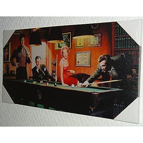Stampa artistica su tela, motivo: American icone Pool Match Monroe, Elvis, Dean, Bogart