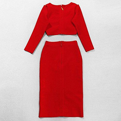 HLBandage 2 Piece Set Long Sleeve High waist Knee Length Bandage Dress Rouge