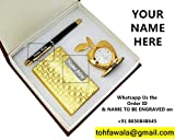 Crownlit Personalised Gift Set with Personalised Metal Pen and Card Holder, Your Name Engraved