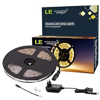 LE 5M Bande LED Flexible 12V, Kit tout inclus, Ruban LED, 3000K Blanc Chaud, 300 unités 3528 LED, Non Etanche, Bandes Ultra Légère, Tous accessoires inclus