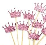 PuTwo hecho a mano 10cuenta morado corona boda decoración de pasteles Cupcake Toppers–morado