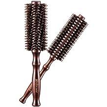 Par de cepillos de pelo Kaiercat con cerdas de jabalí naturales, ronda rizado (2 pulgadas + 1,6 pulgadas de diámetro) para el pelo corto a largo.