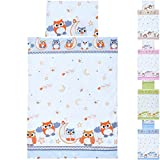 LCP Kids EULEN rot/grau 2 teiliges Baby und Kinder Bettwäsche Set 135x100 cm + 60x40 cm Garnitur