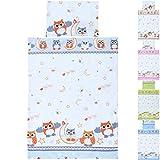 LCP Kids - Set biancheria di 2 pezzi lenzuola per lettino neonati bambino 135x100 + 60x40 - Gufi rosso