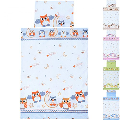 LCP Kids EULEN rot/grau 2 teiliges Baby und Kinder Bettwäsche Set 135x100 cm + 60x40 cm Garnitur (Rote Baby-mädchen Bettwäsche)