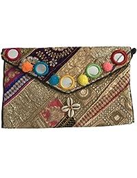 Shubhangi Women's Sling Bag (Jaipuri Embridered Handicraft Traditional Bags,Multi-Coloured,zari Gota Glass, R3... - B075WXGHCW