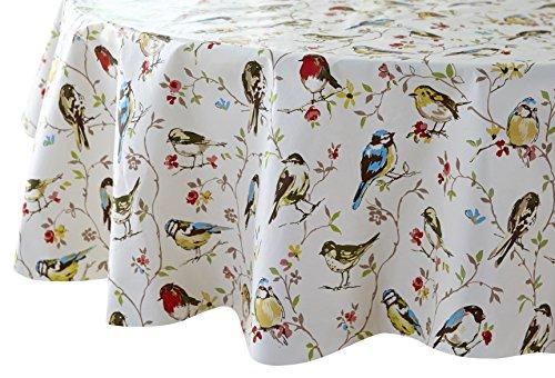 Cooksmart - Tovaglia rotonda, con rivestimento in PVC, motivo: uccellini, colore: multicolore - Uccello Rivestimento In Tessuto