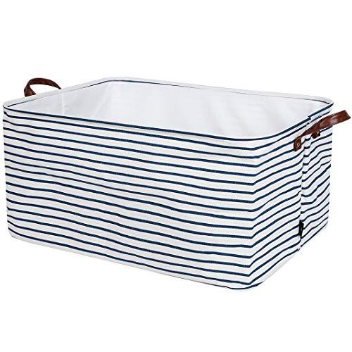 DOKEHOM 22-Inches Verdickte Extra Großen Faltbare Wäschekörbe, Zusammenklappbaren Tunnelzug Wasserdicht Leinwand Cotton Linen Lagerung Körbe Hemmen (Blau Streifen, XL) EINWEG