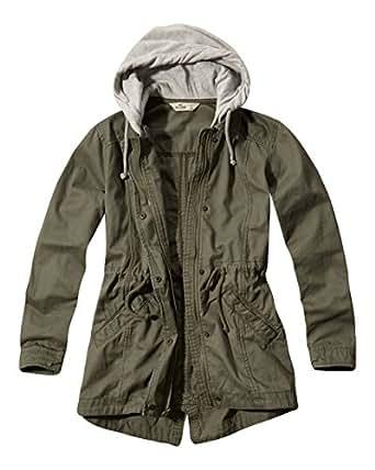 Hollister Filles Femmes Designer Twill Hoodie parka manteau vert S