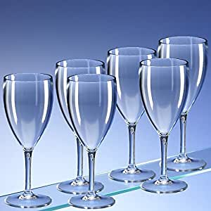 Set of 6 Unbreakable Plastic Polycarbonate LARGE Wine Glasses (350ml (half bottle) 12 fl oz to rim). Dishwasher Safe. Ideal for indoor and outdoor use. Perfect for camping, glamping, bbq's, picnics and any occasion. by Regalzone