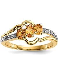 14ct Gold mit Citrin und Diamant Poliert Ring