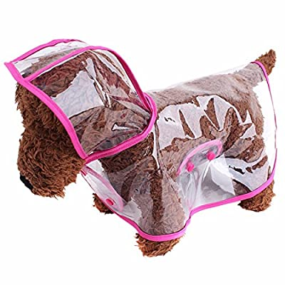 ZoonPark® Pet Dog Raincoat Poncho,Dog Puppy Pet Lightweight Waterproof Teddy Transparent Plastic Poncho Raincoat for Small Or Medium Dogs from duolemi