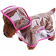 ZoonPark® Pet Dog Raincoat Poncho,Dog Puppy Pet Lightweight Waterproof Teddy Transparent Plastic Poncho Raincoat for Small Or Medium Dogs (M, Pink)