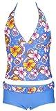 Olibia Mar - moderner Mädchen Tankini mit Panty-Short, hellblau mit Blumenmuster - Oeko-Tex Standard 100 in Größe 152