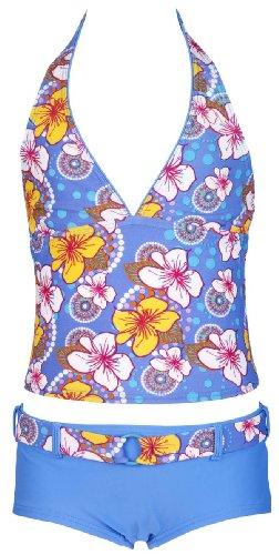 Olibia Mar - moderner Mädchen Tankini mit Panty-Short, hellblau mit Blumenmuster - Oeko-Tex® Standard 100 in Größe 152