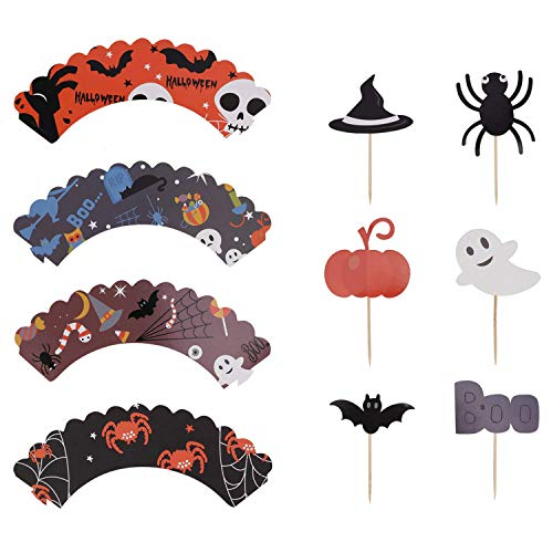 (Halloween Cupcake Deko-Set, Designerbox 12 PCS Halloween-Stil Cupcake-Förmchen und 12 PCS Halloween Party Cupcake Topper Picker Mini Kürbis Spider Ghost Hat Fledermaus Boo Muster Stil 1)