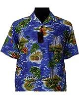 Espionage Cotton Blue Hawaiin Shirt (164) in Size 2XL to 8XL