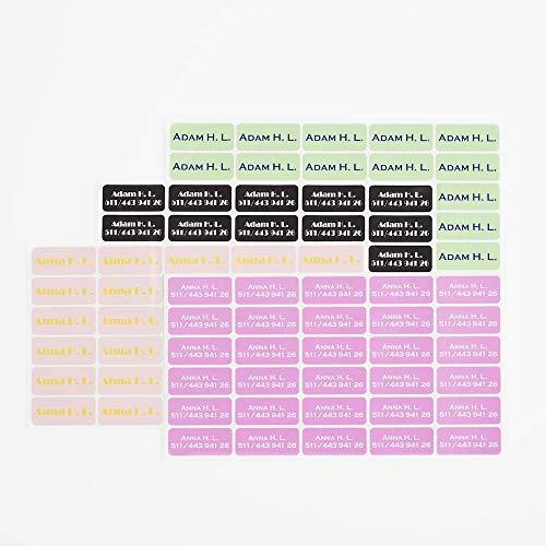 Ikast Etikett selbstklebende Namensetiketten für Kinder in Blau | Individuell bedruckte Etiketten für Kleidung & Textilien | Waschbar bis 40°C | 120 Stück -