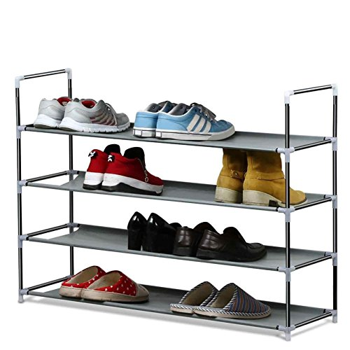 House of Quirk 4 Layer Metal Shoe Rack (Grey)