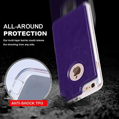 Coque iphone 6S plus housse cuir, Coque iphone 6 plus housse cuir, Fyy® [Séries Haut de gamme] Étui cuir PU de première qualité Étui portefeuille détachable avec card slots, note-book et dragonne pour F-Violet