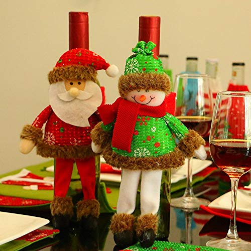 (SPFAZJ Weihnachten Tischdekoration New Weihnachten Zuhause mit Bein Wein Flasche Set Wein Set Geschenk Tasche Weingut Wein Weihnachtsschmuck)