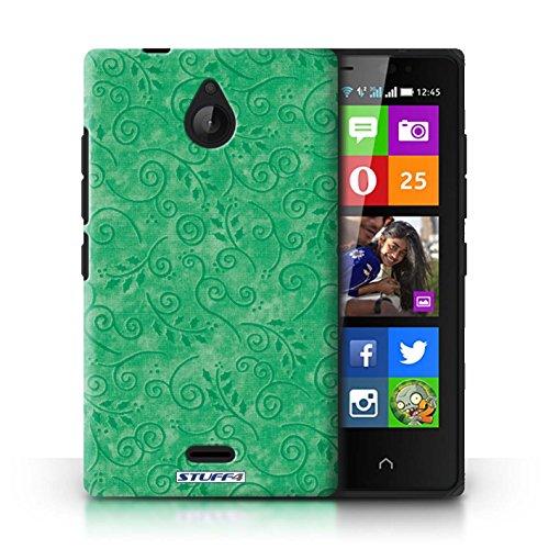 Kobalt® Imprimé Etui / Coque pour Nokia X2 Dual Sim / Pourpre conception / Série Motif Feuille Remous Vert