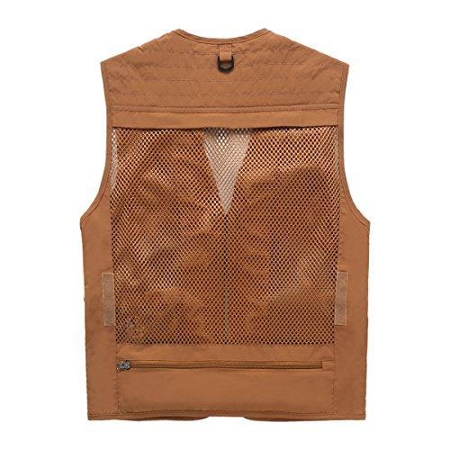Männer Retroanglerjacke Multi Taschen Fotografie Outdoorjacke Schnell Trocknend Orange