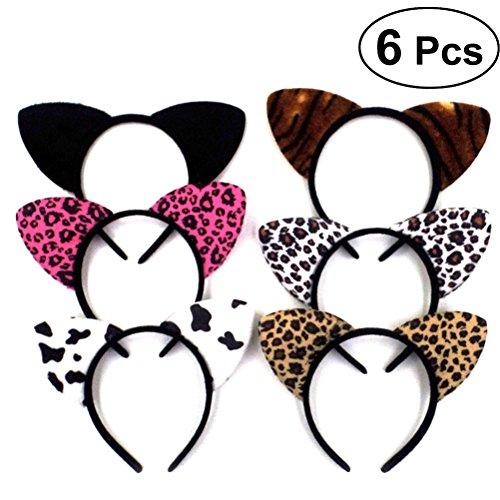 Lurrose 6 stücke Katzenohren Stirnband Stoff Kitty Cosplay Kostüm Haar Headwear Nette Sweety Haarband für Halloween Party Cosplay (Wirklich Niedliche Halloween Kostüme)
